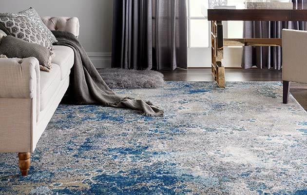 Blue area rug roomscene