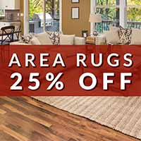 Home for the Holidays storewide flooring sale. Take 25% off of area rugs during this sale at Towne Pride Interiors