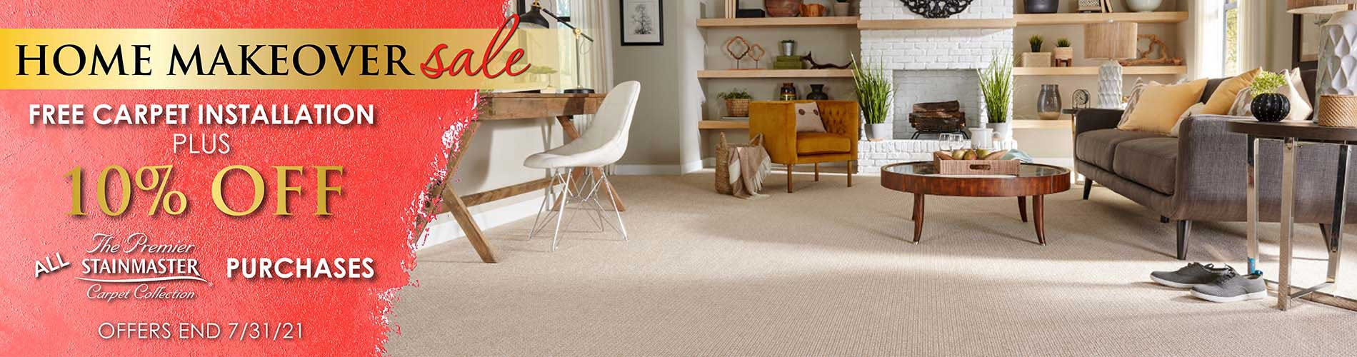 Free carpet installation plus 10% off all STAINMASTER carpet purchases